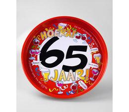 "Biercadeau 65 jaar - Metalen dienblad ""Hoera 65 jaar"""