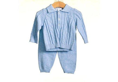 Licht blauwe set: broek met top (incl. mutsje) - Bluesbaby