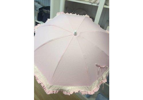 Roze parasol met kanten rand - Mico's Collection