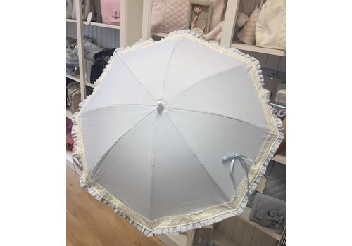 Blauwe parasol met kanten rand - Mico's Collection