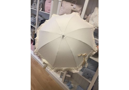 Beige parasol met kanten rand - Mico's Collection