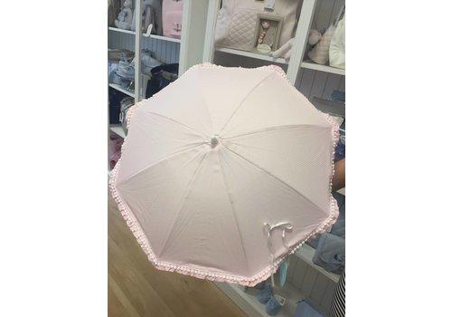 Roze parasol met witte mini pompoms - Mico's Collection