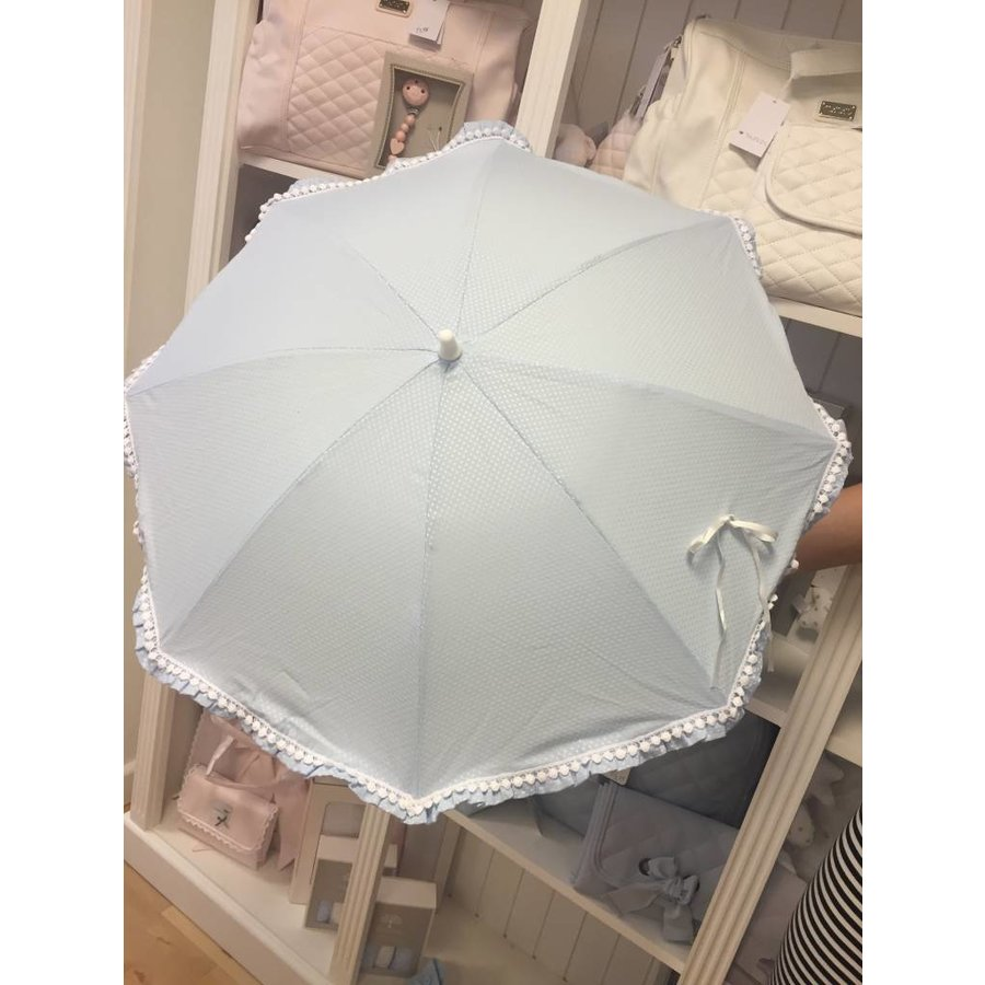 Blauwe parasol met witte mini pompoms - Mico's Collection