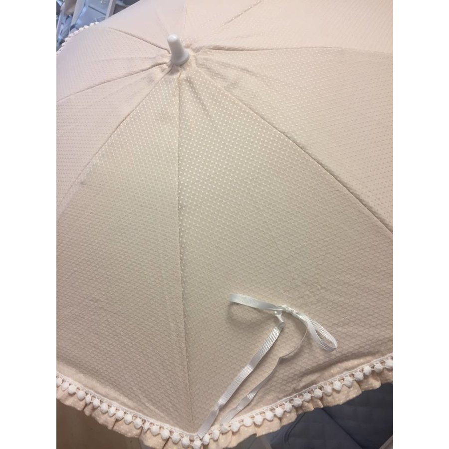 Beige parasol met witte mini pompoms - Mico's Collection