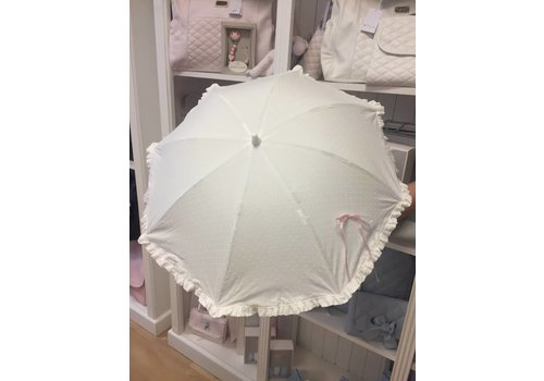 Off white parasol met roze strikje - Mico's Collection