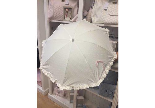 Off white parasol met roze strikje - Mico's Collection