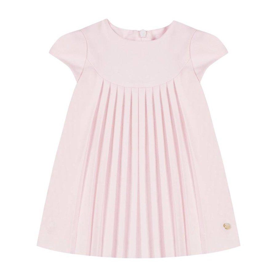 Roze geplooide flanellen jurk - Tartine et Chocolat