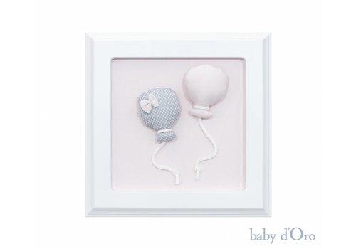 Stoffen schilderijtje wit met ballonnen (roze/grijs)