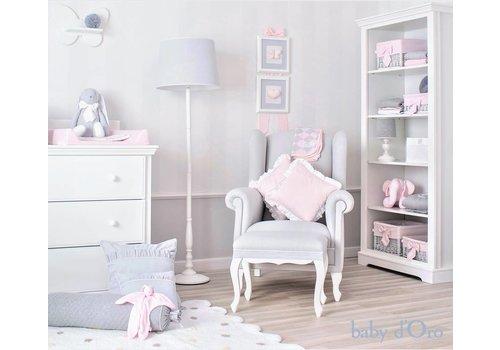 Roze kussen met witte satijnen rand (Big) - baby d'Oro