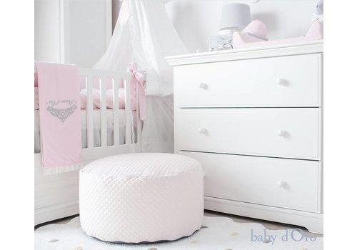 Roze gewatteerde poef - baby d'Oro