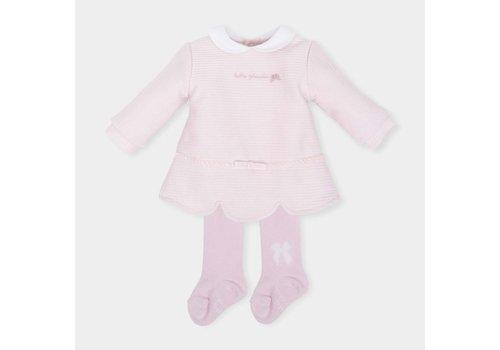 Roze jurk met witte kraag en maillot - Tutto Piccolo