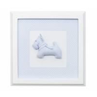 Stoffen schilderijtje wit met hond (blauw)