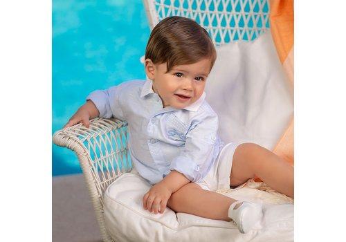 Licht blauw shirt met witte kraag - Tutto Piccolo