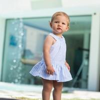 Licht blauw / wit gestreepte jurk - Tutto Piccolo