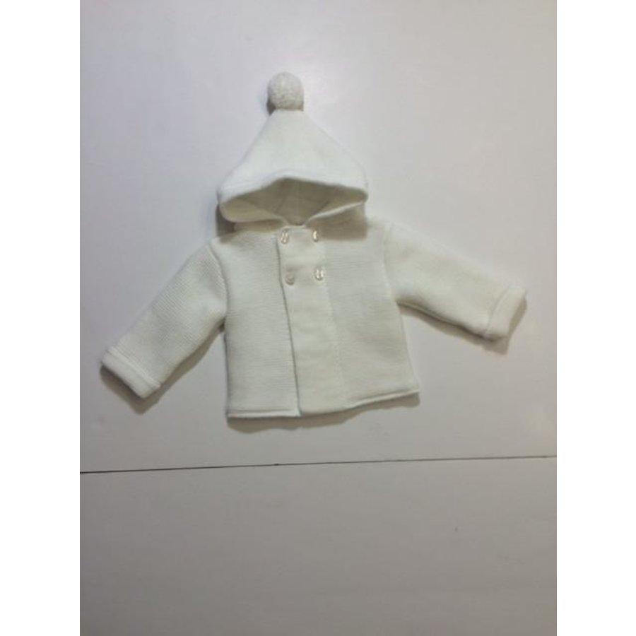Off white gebreid jasje met capuchon - Bluesbaby