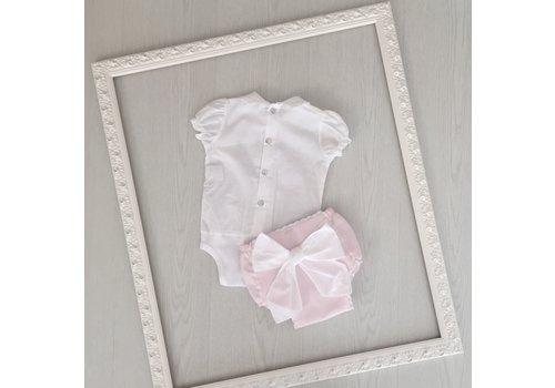 Set: witte body met roze broek met strik