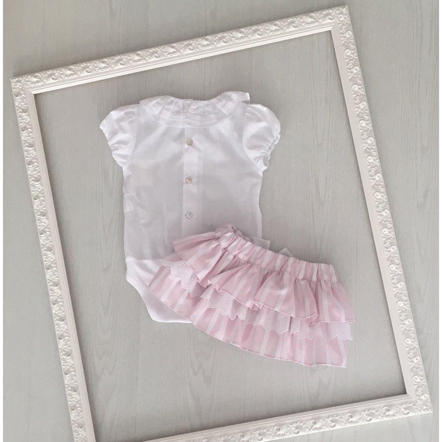 Set: witte body met roze broek met strepen