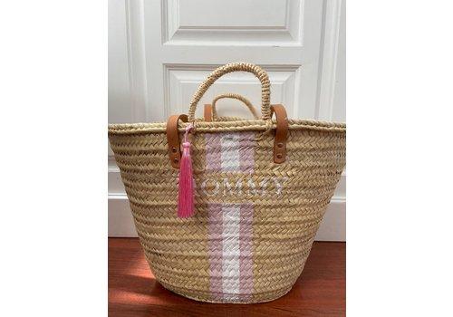 """""""Mommy"""" rieten tas met roze kwast"""