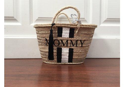 """""""Mommy"""" rieten tas met zwarte kwast"""