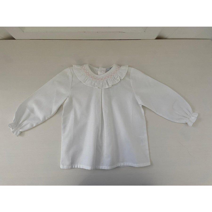 Witte blouse met geplooide kraag