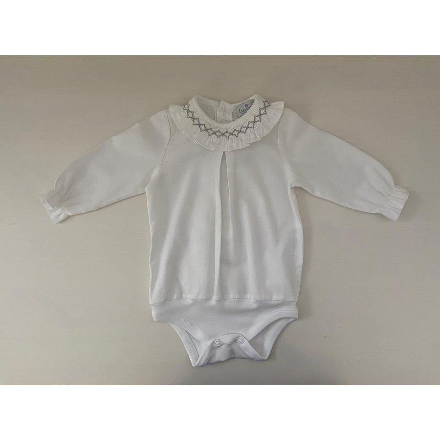 Witte blouse/body met geplooide kraag (lange mouwen)