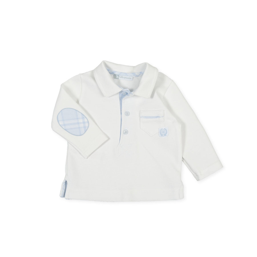 Polo shirt met ruitjes (wit) - Tutto Piccolo