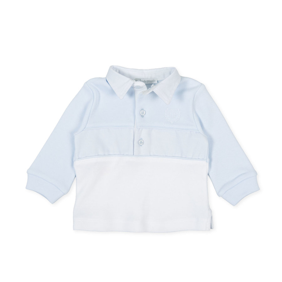 Polo met lange mouwen (wit/blauw) - Tutto Piccolo