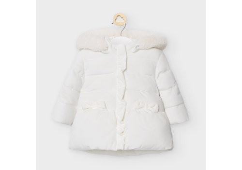 Jas met strikken en capuchon (off white) - Mayoral