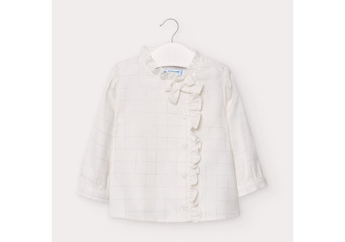 Blouse met ruit en strik (off white) - Mayoral