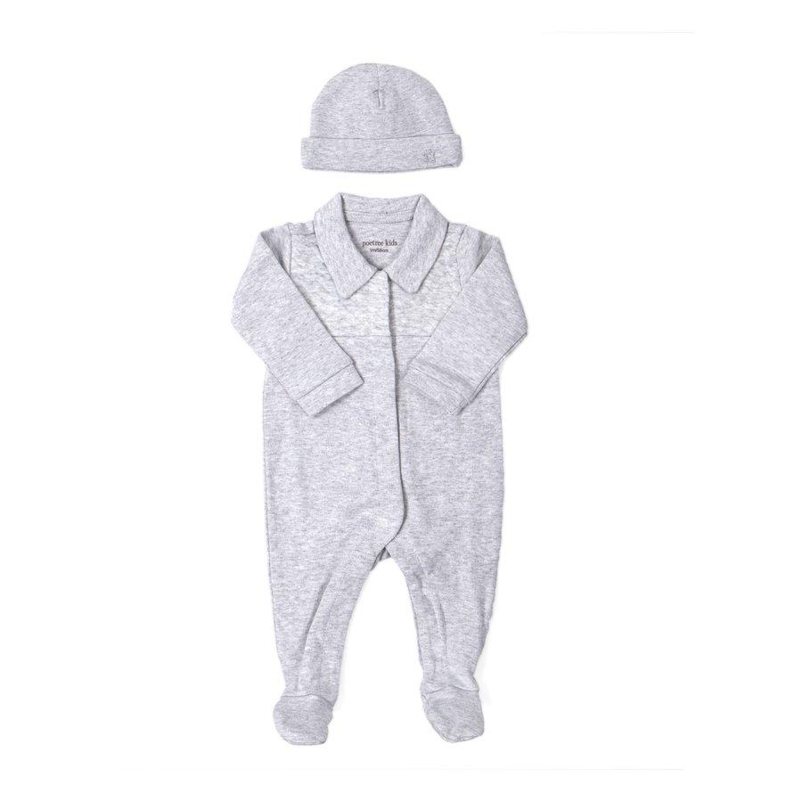 Baby mutsje (Chevron Light Grey) - Poetree Kids