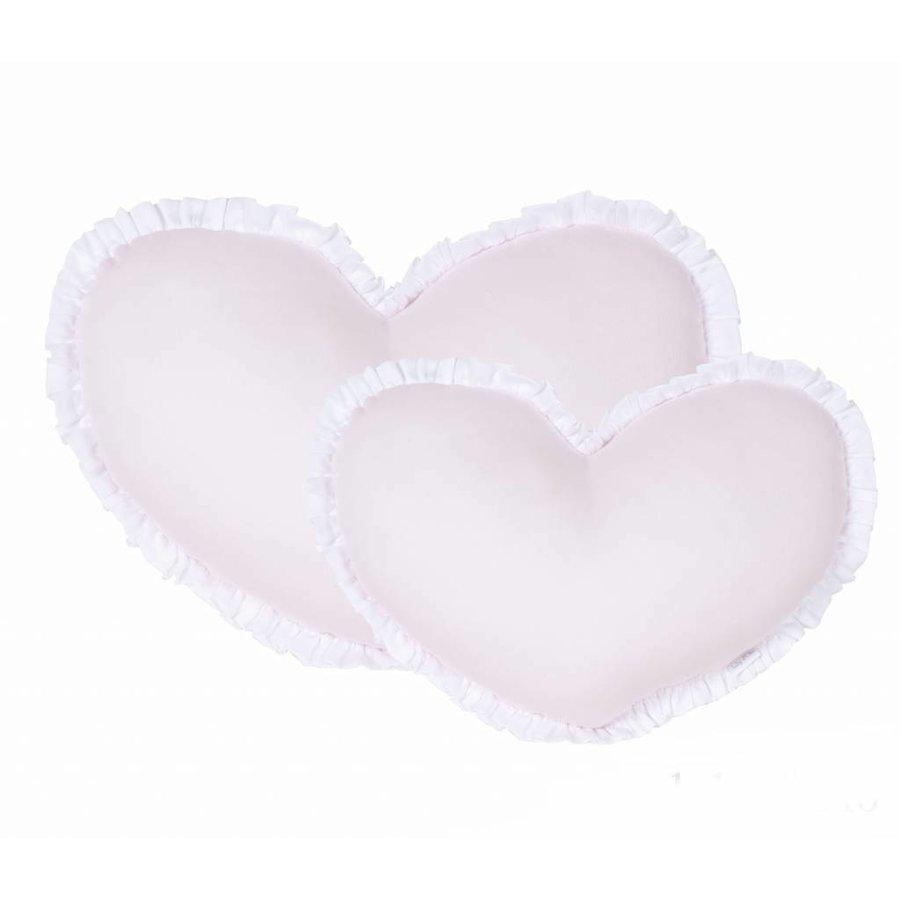 Roze hartvormig kussen met witte rand (Small)