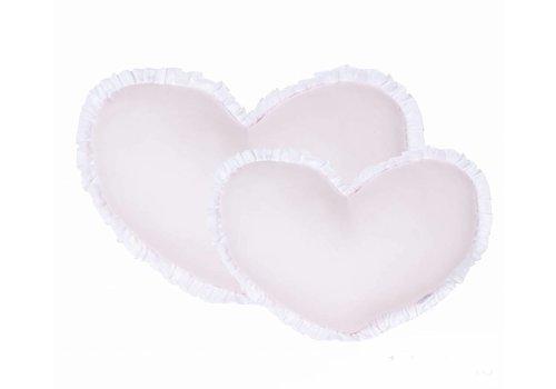 Roze hartvormig kussen met witte rand (Big)