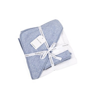 Badcape & washandje blauw (Chevron Denim Blue) - Poetree Kids