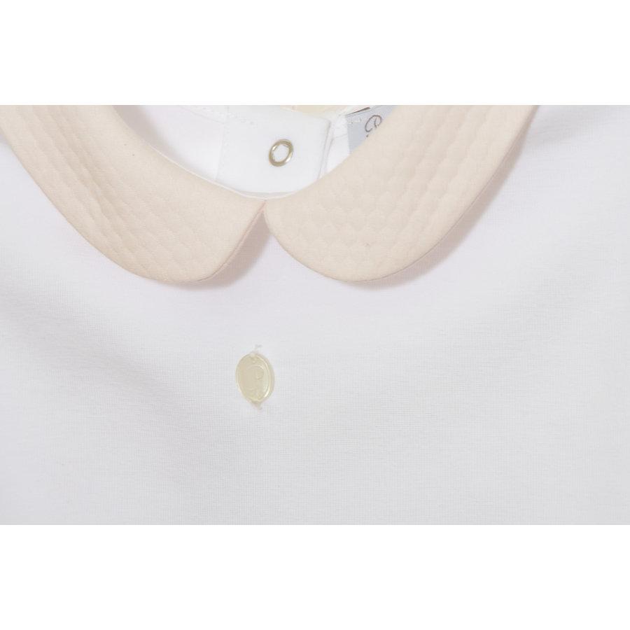 Shirt met strikjes en roze kraag (wit) - Patachou