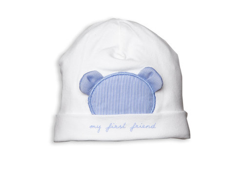 Wit mutsje met blauwe teddy - First (My First Collection)