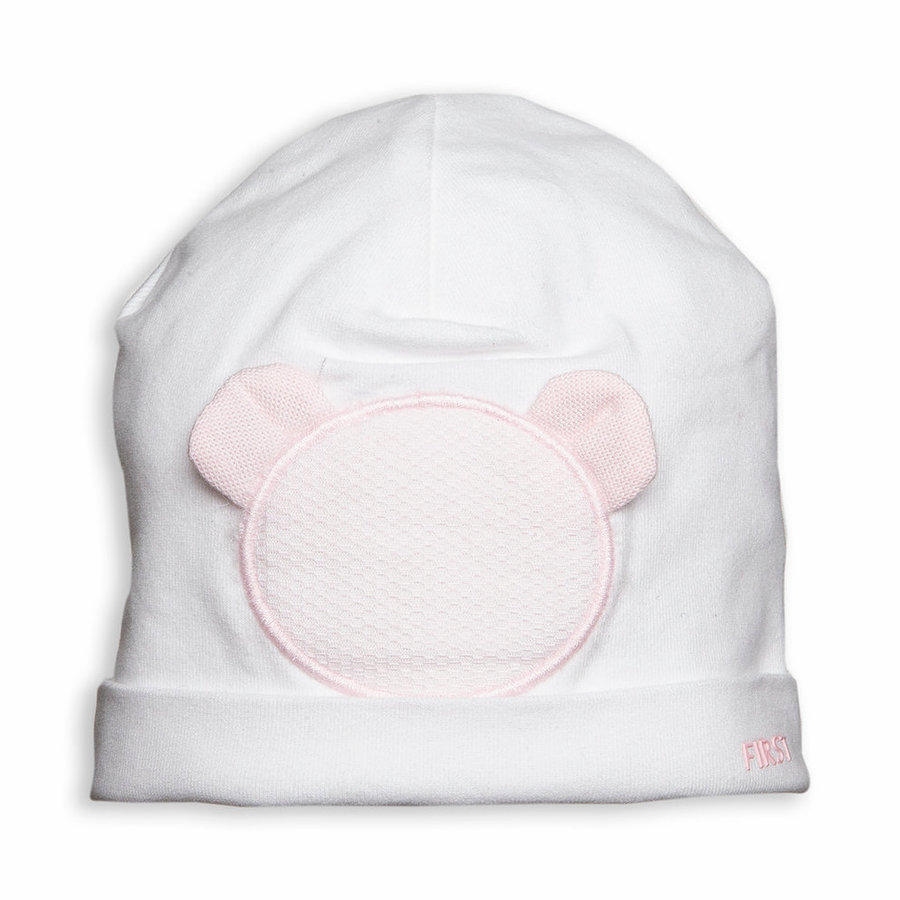 Mutsje met roze teddy (wit) - First (My First Collection)