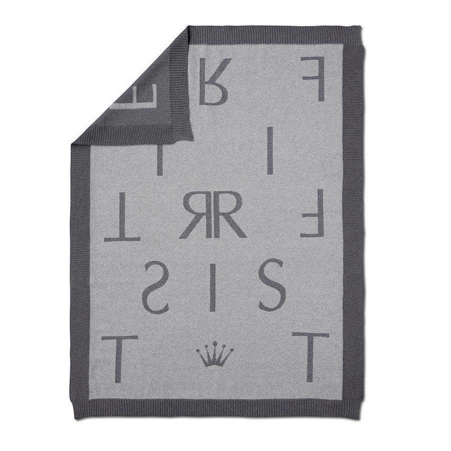 Deken met First letters (grijs) - First (My First Collection)