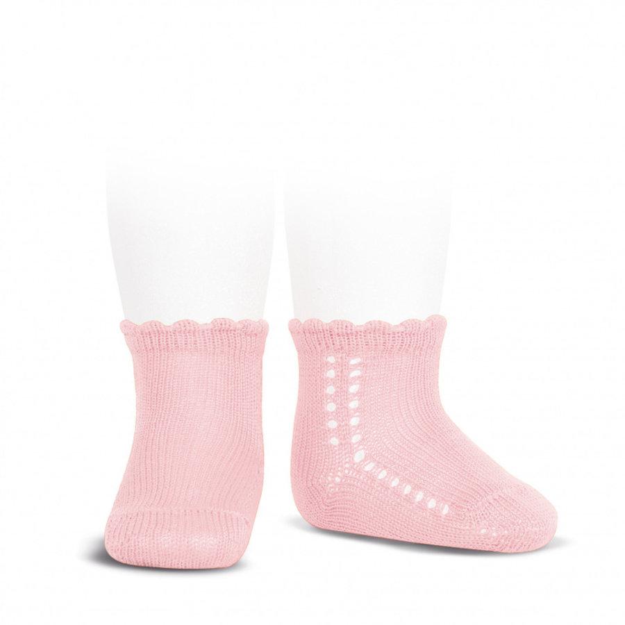 Korte opengewerkte sokken (roze) - Condor