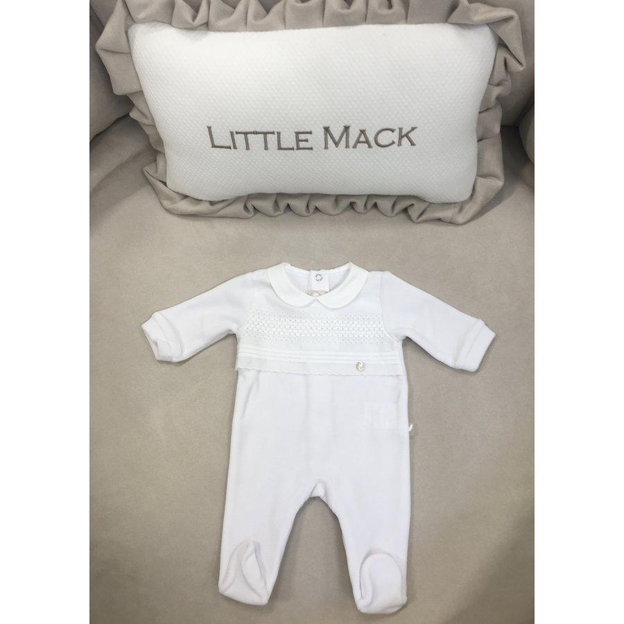 Babypakje met verticale banen op borststuk (wit) - Pureté