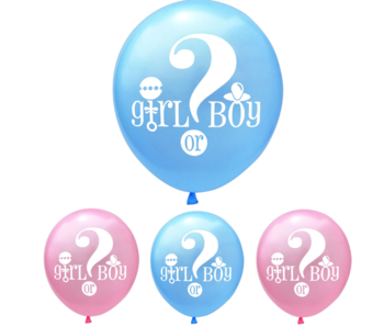 Blauw & Roze (mix) Girl or Boy Ballon 18x