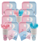 Gender Reveal Mes 16x (8 pcs blauw/8 pcs roze)
