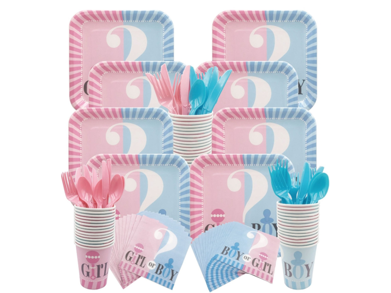 Gender Reveal Knife 16x (8 pcs blue/8 pcs pink)