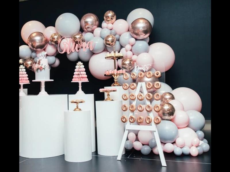Macaron Ballonslinger Roze/Grijs 328pcs