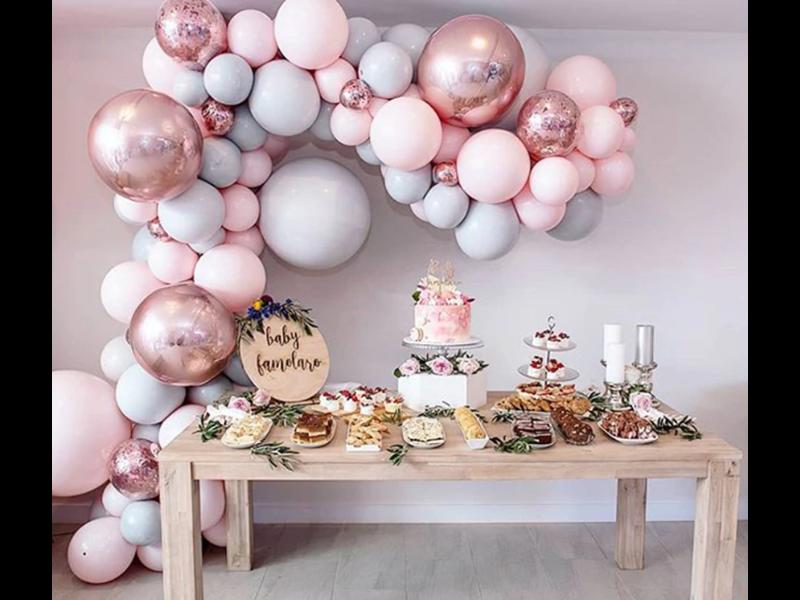 Macaron Balloon Garland Pink Grey 328pcs