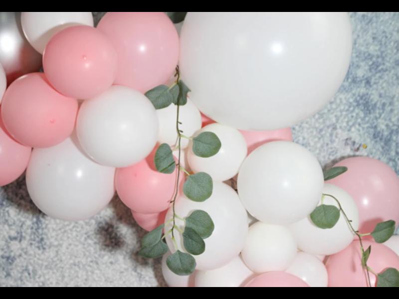 Silver Rose Latex Ballon Garland Arch Kit 155 pcs