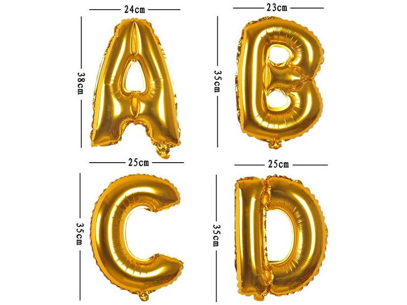 Aluminum Balloon Number 0 - 9 - Gold