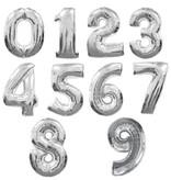 Aluminum Balloon Number 0 - 9 Silver