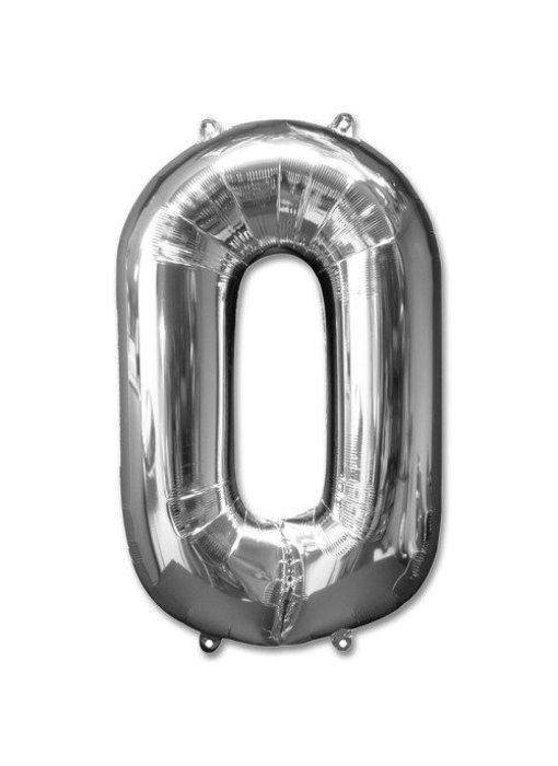 Aluminum Balloon Number 0 -9 Zilver