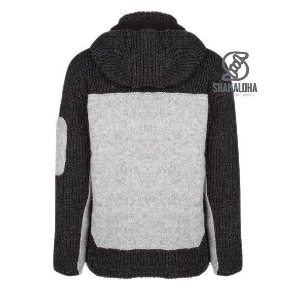 Shakaloha Shakaloha Knitted Woolen Jacket Dub Gray Anthracite with Fleece Lining and Detachable Hood - Men - Unisex - Handmade in Nepal from sheep's wool