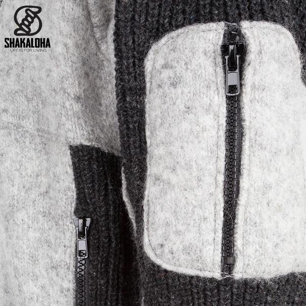 Shakaloha Shakaloha Gebreid Wollen Vest Dub Grijs Antraciet met Fleece Voering en Afneembare Capuchon - Man/Uni - Handgemaakt in Nepal van Schapenwol